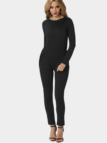 Black Fitted Waistband Jumpsuit