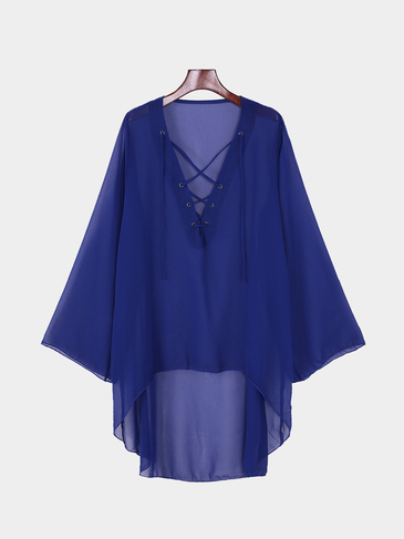 Blue See-through Lace-up Design Chiffon Cover Up