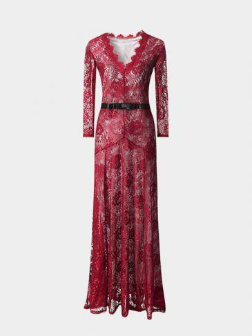 Burgundy Maxi Dress With Eyelash Lace Trim