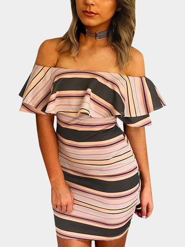 Stripe Off The Shoulder Bodycon Mini Dress with Flouncy Details