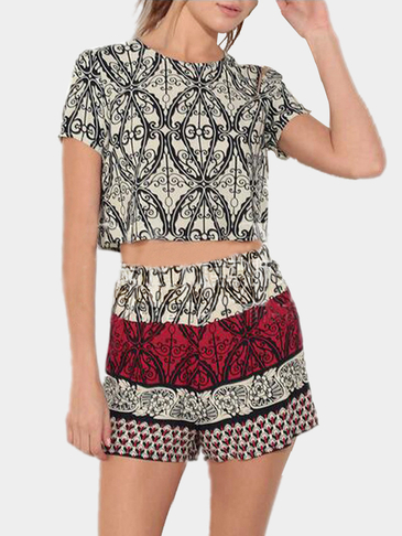 Geometrical Pattern Crew Neck Co-ord