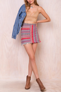 Bohemian Multicolor Stripe Pattern Fringed Mini Skirt