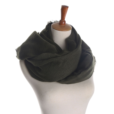Shawl Scarf in Olive Green with Frayed Edges