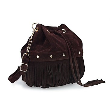 Suede Fringe Tassel Bucket Bag