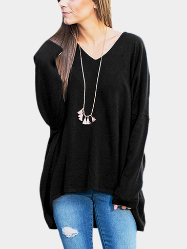 Black V Neck Curved Hem Long Sleeves Blouse