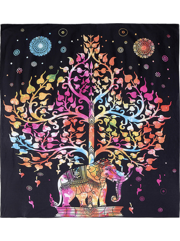 Bohemia Rectangle Elephant Tree Pattern Beach Blanket