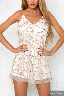 Sexy Sequin Sleeveless V-neck Mini Dress