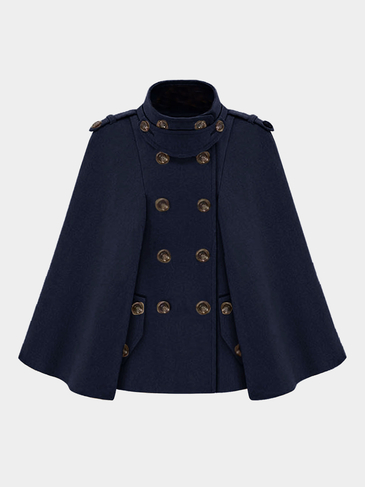 Navy Double Breasted Cape with Arm Slits