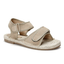 Apricot Velcro Design Hemp Rope Suede Flat Sandals