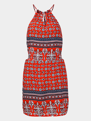 Totem Print Cut Out Self-Tie Mini Dress in Red