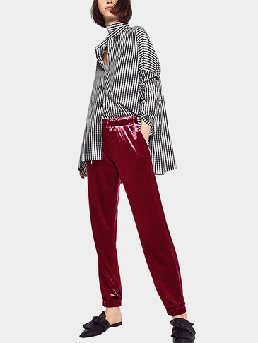 Red Velvet High-waist and Drawstring Waist Causal Pants