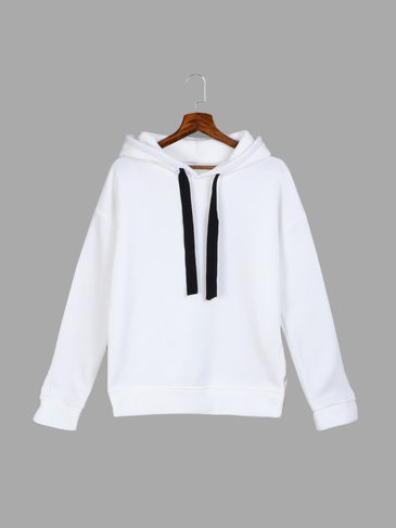 White Strappy Front Split Zipper Hooded Sweatshirt