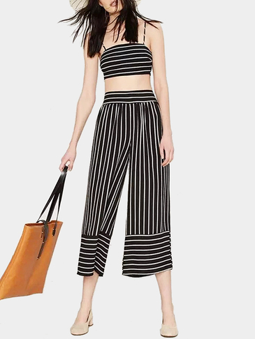 Vintage Black Stripe Cami Crop Top and Cropped Trousers Co-ord