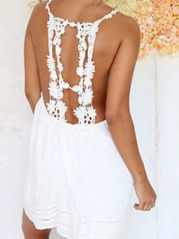 White Backless Lace Cami Dress