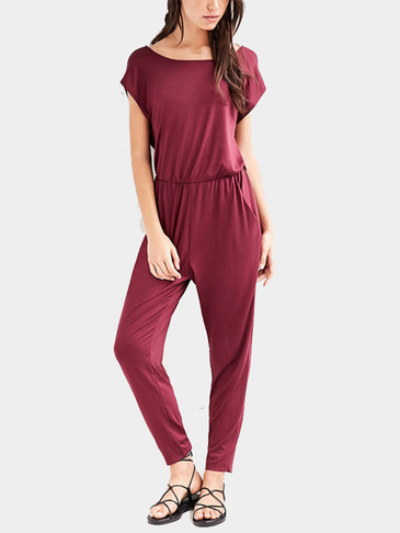 Burgundy Open Back Elastic Waist Jumpsuit