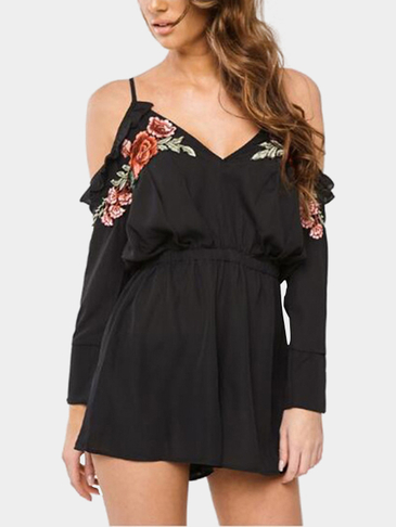 Random Rose Embroidered floral & V-neck Slip Romper in Black