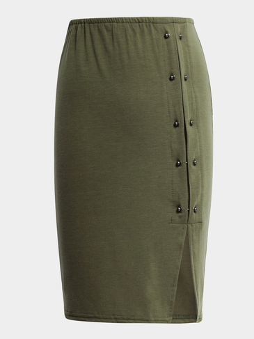 Army Green High-waisted Nieten-Detail-Split-Rock