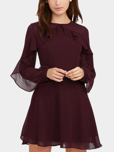 Burgundy See-through Long Sleeves Frilling Details Zip Mini Dress