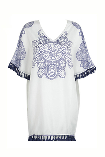 Blue & White Porcelain Print Bat Sleeve Tassel Loose Dress