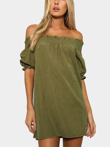 Off-The-Shoulder Mini Dress в Army Green