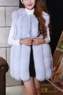 Grey Artificial Fox Fur Gilet