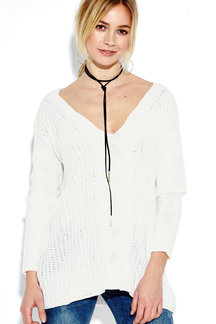 V-neck Long Sleeves Causal Loose Jumper