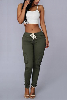 Army Green Drawstring Waist Pockets Design Trousers