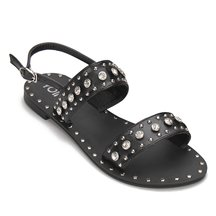 Black Glod-tone Hardware Leather Look Flat Sandals