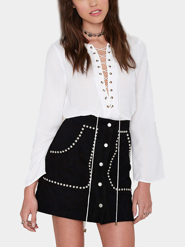 Black Suede Studded Mini Skirt