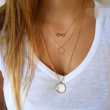 Golden Plated Chain Geometric Circle Pendant Necklace