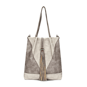 Beige Leather-look Spliced Shopper Bag with Tassel and Embroidered Detail