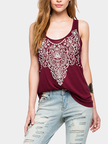 Burgundy Printed Vest with Open Back