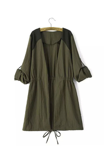 Drawstring Taist Tab Draped Sleeves Stitching Green Coat