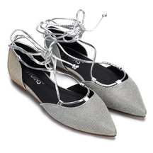 Sliver Glitter Embellished Pointed Toe Lace-up Flats