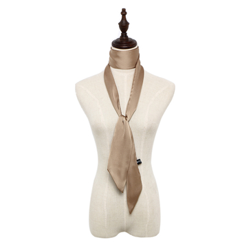 Silky-look Skinny Long Scarf in Khaki