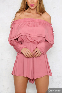 Pink Off-Shoulder Long Sleeveless Drawstring Playsuit