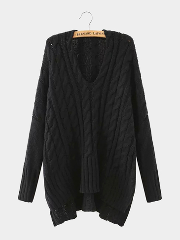 V Neck Cable Knit Jumper in Black