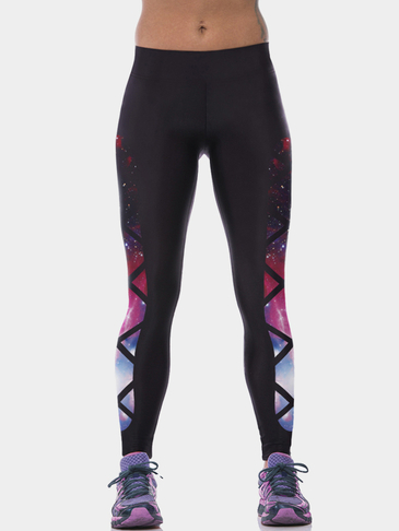 Criss Cross Star Print Contrast Panel Yoga Leggings
