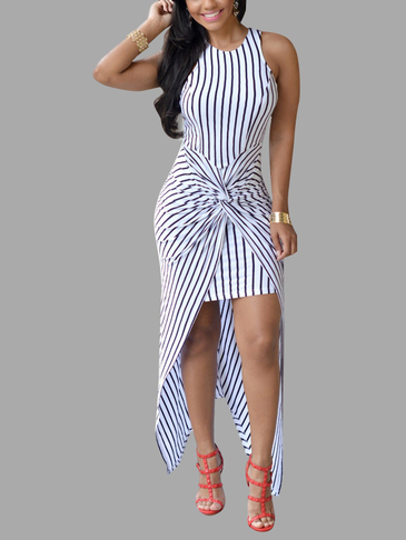 White Stripe Pattern Sleeveless Twist Front High Low Hem Maxi Dress