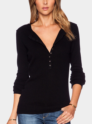 Black Knitted Sweater with V Neck