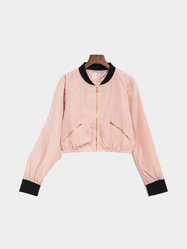 Pink Chimney Collar Zipper Front Bomber Jacket With Side Zippers