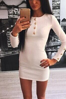 White Long Sleeves Button Body-con Mini Dress