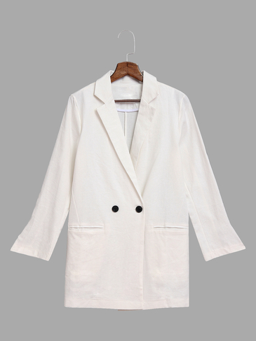 White Lapel Collar Blazer