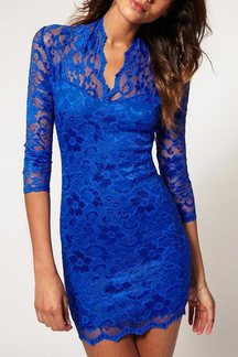 3/4 Length Sleeves Lace Dress in Blue