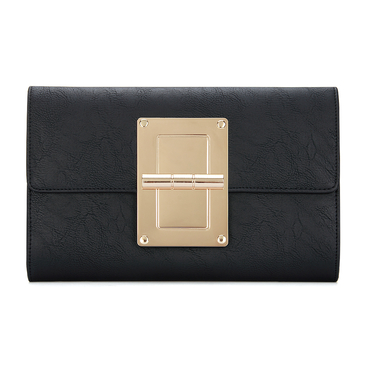 Black Leather-look Gold-tone Metal Clutch Bag with Shoulder Strap