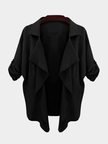 Black Lapel Collar Curved Hem Causal Trench Coat