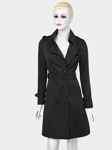 Nero risvolto casuale Collare doppio Breated Slim Trench Coat