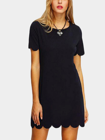 Scalloped Hem Keyhole Mini Dress