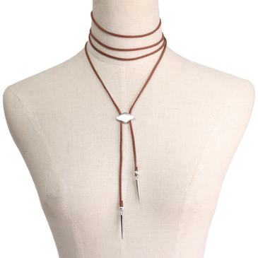 Brown Suede Geometric Patterns Long Necklace