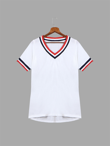 Loose Color Stripe EdgeV Neck See-through T-shirt